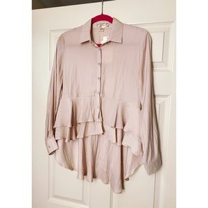Band of Gypsies Blush Pink Ruffled Button-down Top